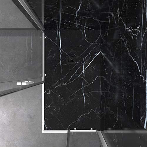 THERMIKET Piatto Doccia in Resina Minerale - Effetto Marmo Opaco - Antiscivolo e Antibatterico - Include Sifone e Griglia (90x120 cm, Nero Marquina)