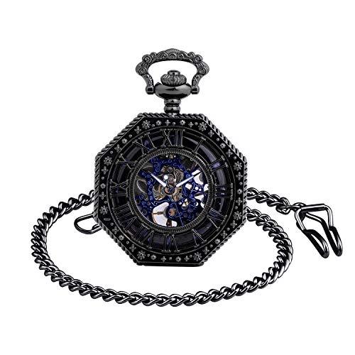 Unendlich U Herren Römische Ziffern Skala Taschenuhr mit Halskette Analog Handaufzug Skelett Unisex Retro Mechanische Kettenuhr