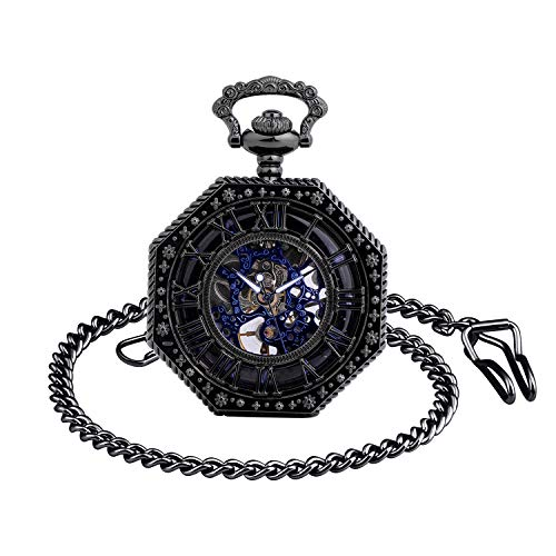 Infinito U- Números Romanos Octagonal Exquisito Calado Retro Mecánico Reloj de Bolsillo Idea Regalo para Hombre Mujer