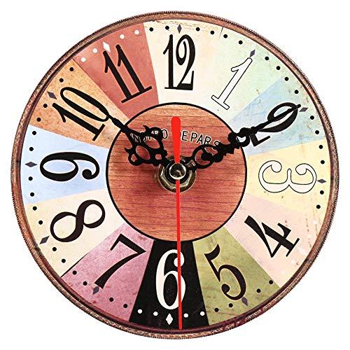 Zyyini Reloj de Pared de Madera, Reloj de Pared Redondo de Madera silencioso Estilo rústico Vintage de 5 Pulgadas, con Pilas, decoración de Pared rústica para la Sala de Estar, Cocina, Dormitorio(3#)