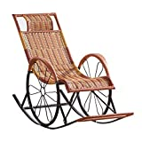 LHNLY-Liegen Braun Rattan Sonnenliege Liegender Saunaliege Recliner Sonnenliegestuhl Relax Schaukelstühle Gartenliege Liegestuhl Relaxliege Strandliege für Innenhof Wohnzimmer, max. 150 kg