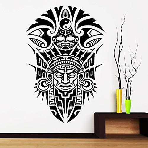 keletop Diseño Creativo máscara Maya Antigua Tribu Indios Vinilo Pegatinas de Pared decoración del hogar Sala calcomanía Interior Arte Mural 42x63 cm