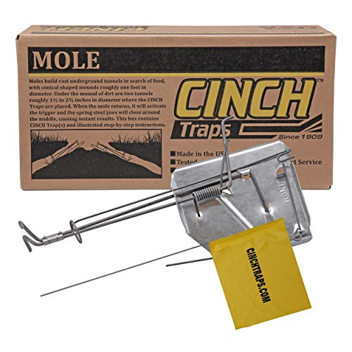 Cinch Mole Trap with Tunnel Marking Flag (Medium) Heavy-Duty, Reusable Rodent Trapping System   Lawn, Garden, and Outdoor Use   Weather Resistant Steel