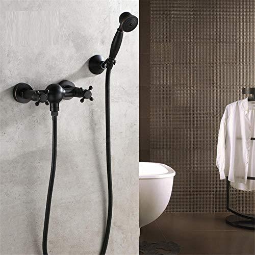 Waschraumarmaturen Luxus Badezimmer Schwarz Duscharmatur Mit Handbrause Wandhalterung Einhand Massivem Messing Badewanne Brausebatterie