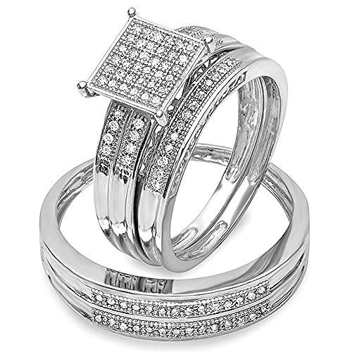Dazzlingrock Collection 0.27 Carat (ctw) Round White Diamond Men's & Women's Engagement Trio Bridal Set 1/4 CT, Sterling Silver (0.25 Ct Dazzling Diamond)