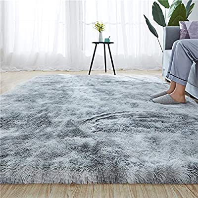 Rainlin Shaggy 5.3x6.6 Area Rug Modern Indoor Plush Fluffy Rugs, Extra Soft Comfy Carpets, Cute Cozy Area Rugs for Bedroom Living Room Girls Boys Kids, Grey