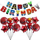 11 Palloncini Foil Supereroe Banner di compleanno Compleanno Festa Compleanno, Palloncini Foil Superhero Spiderman per Bambini Regalo Festa di Compleanno Forniture Decor