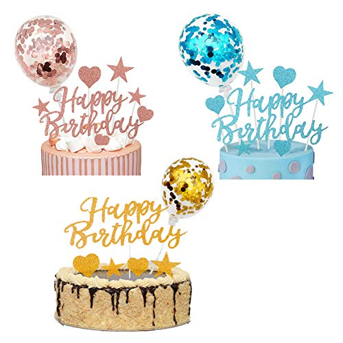 36pcs Happy Birthday Cake Topper, Confetti Balloons Stars Heart Cupcake Topper per Ragazze Kids Birthday Party Anniversary Wedding Cake (Rose Gold + Blue + Gold)