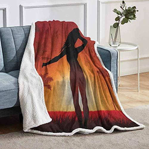YUAZHOQI - Coperta da bambina personalizzata, con sagoma di corpo umano femminile al sole delle terre esotiche, per camera da letto, 129,5 x 180,3 cm, colore: arancione bruciato, nero