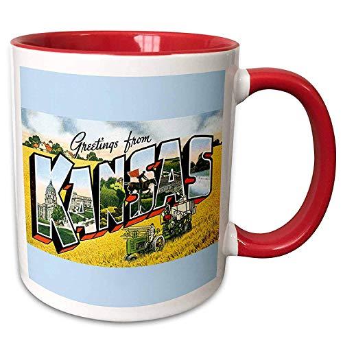 Groeten uit Kansas Scenic ansichtkaart op blauwe achtergrond rood wit unieke koffiemok keramisch ontwerp kerstmok geschenken 11oz