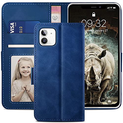 YATWIN Funda Compatible para iPhone 11, Cuero Premium Flip Folio Compatible para iPhone 11, Soporte Plegable, Ranura para Tarjeta, Cierre Magnético, Funda Libro Compatible para iPhone 11, Azul