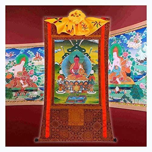 Maler Exquisite Thangka Amitabha Wandbilder Tibetisch Handverdickt DREI Schätze Buddha Dekorative Hängende Malerei, 90 cm Lang