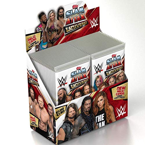 Topps FS0000695DI - Slam Attax Sammelkarten WWE, 36 Booster im Display, 5 Karten je Booster, 1 Memorabilia Karte pro Display