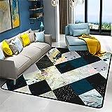 alfombras bebe Alfombra grande con diseño de patrón a cuadros azules, alfombra moderna y transpirable que es fácil de aspirar y antideslizante alfombras salon grandes baratas -azul_El 160x280cm