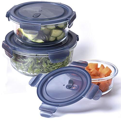 SILVANO Juego de 3 recipientes de Vidrio Transparente con Tapas de Cierre hermético. Capacidades: 420 ml, 660 ml y 950 ml. Aptos para microondas y congelador (Tapas Azules)