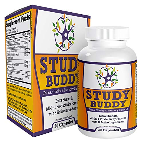 Study-Buddy (All-in-1) Supplement for Focus, Productivity & Memory Support - Natural Study Aid Pills/Supplements