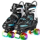 arteesol Rollschuhe Mädchen, mit LED Leuchtenden Rädern Verstellbar Quad Roller Skates, Bequem und Atmungsaktiv Zweireihige Rollschuhe Unisex 4 Größe für Jungen und Kinder
