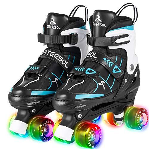 Rollschuhe arteesol Verstellbare Quad Roller Skates mit Leuchtenden Rädern Bequem und Atmungsaktiv Zweireihige Rollschuhe Unisex 4 Größe für Kinder Anfänger Mädchen und Jungen