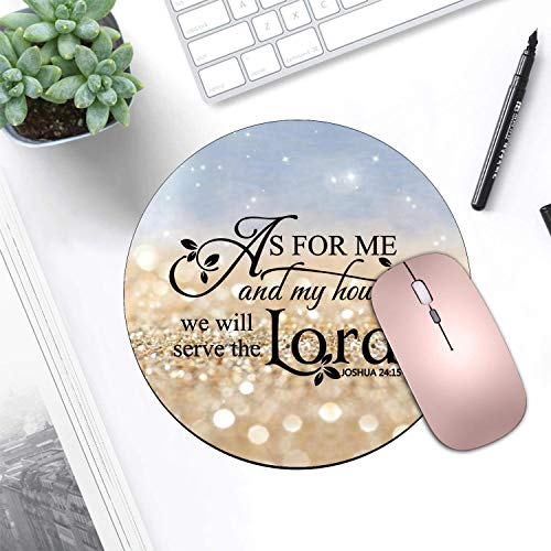 BWOOLL Round Mouse Pad and Coasters Set, Rainbow Glitter Mouse Pad, Quote Christian Bible Verses Joshua 24:15 Mouse Pad, Non-Slip Rubber Base Mouse Pads for Laptop and Computer Photo #3