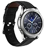 22mm Watch Band Genuine Leather Compatible with Samsung Galaxy Watch 3 45mm/Galaxy Watch 46mm/Gear S3 Frontier/Classic Watch/Moto 360 2nd Gen 46mm/Pebble Time/Ticwatch Pro 3/Garmin Vivoactive 4 Black