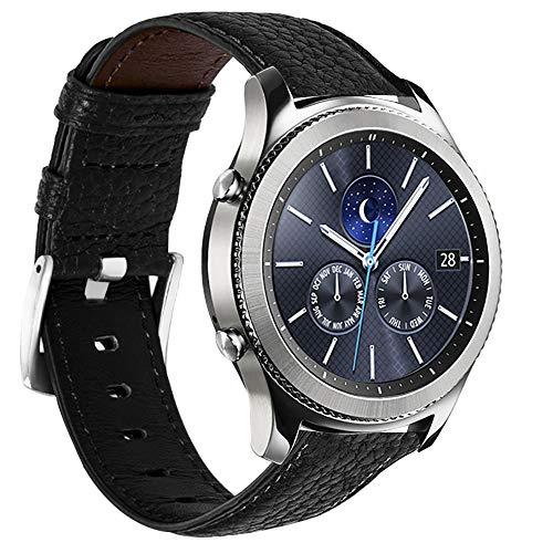 Correa de reloj de 22 mm compatible con Samsung Gear S3 Frontier/Classic Band/Galaxy Watch 46 mm/Moto 360 2ª generación 46 mm/Pebble Time Steel Negro