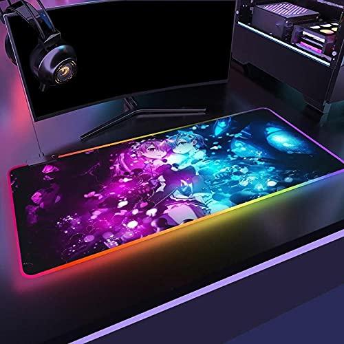 Anime Re:Zero RGB PC-Zubehör Led-Mauspad Gaming-Matten Gamer Mausepad mit Hintergrundbeleuchtung Großes Mauspad Schreibtisch-Unterstützung DIY-Muster S (300X600 mm)