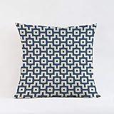 QIANGST Tiras geométricas Azules Plaids Fundas de colchón Fundas de Almohada Nordic Circle Line Waves Sofá Throw Pillow Case Algodón Lino 45x45cm F