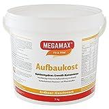 MEGAMAX Aufbaukost Erdbeere 3 kg - Ideal zur Kräftigung und bei Untergewicht. Proteinpulver zur Zubereitung eines fettarmen Kohlenhydrat-Eiweiß-Getränkes für Muskelmasse u. Muskelaufbau Gewichtszunahme