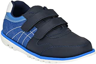 Hopscotch Tuskey Shoes Boys Leather  Genuine Leather Sneaker in Blue Color