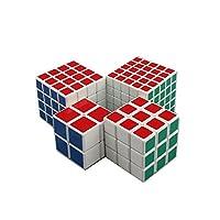 HJXDJP - マジックキューブ [ 2X2& 3X3 & 4x4 & 5x5 ] 4個入り 標準色ステッカー立体パズル立体キューブ ポップ防止立体キューブ スムーズ回転キューブ 競技用パズルキューブ (白素体)
