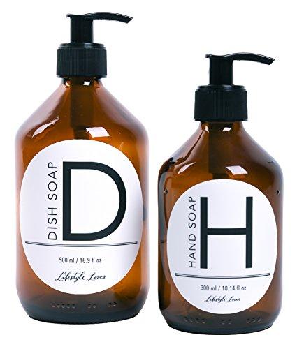 Lifestyle Lover 2er Pack Seifenspender aus Braunglas, Bernsteinfarben für Seife, Spüli, Dish Soap 'D' 500ml & Hand Soap 'H' 300ml