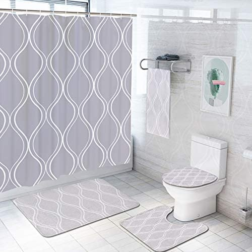 Pknoclan 5 Pcs Gray Geometric Shower Curtain Sets with Rugs and Towels Include Non Slip Rug product image