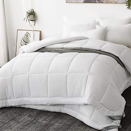 Bedsure Edredón Nórdico Relleno Cama 135 Doble - 230x220 cm Blanco, 150gr+300gr de Fibra Suave y Antiácaro, Reversible y Moderno para 4 Estaciones