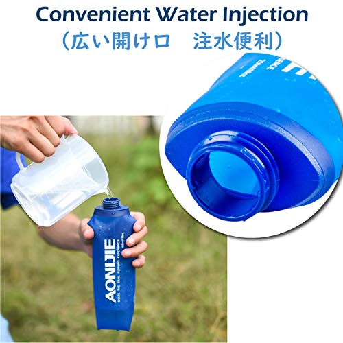 Azarxis Soft Flask Collapsible Water Bottle Running Soft Gel Flask Reservoir Handheld Folding TPU 250 500ml for Hydration Pack Hiking Cycling Climbing (500ml/16.9oz - 2 Pack with 2 Speed Straws)