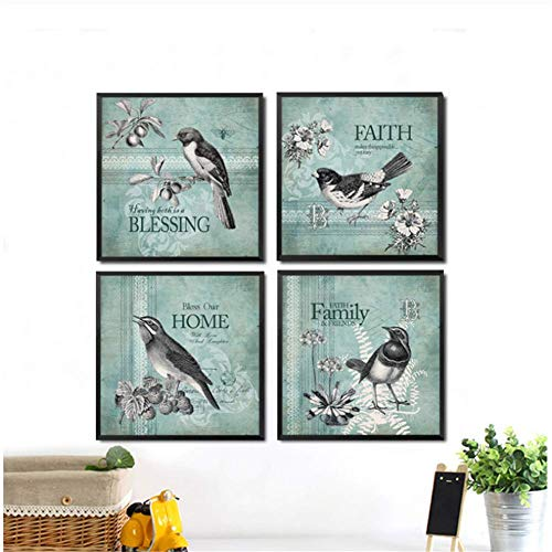 Foto Muurschilderingen 4 Stks Vogel Bloem Letters Canvas Print Home Decor Vierkante Posters voor Woonkamer -50x50cmx4pcs- Geen Frame