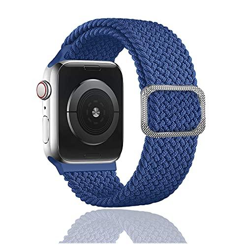 Rosok Correa de Repuesto Elástica Compatible con Apple Watch SE 42mm /44mm, Moda Transpirable, Correa de Tejer de Nylon para Apple Watch Series 6/5/4/3/2/1 42mm /44mm - Azul