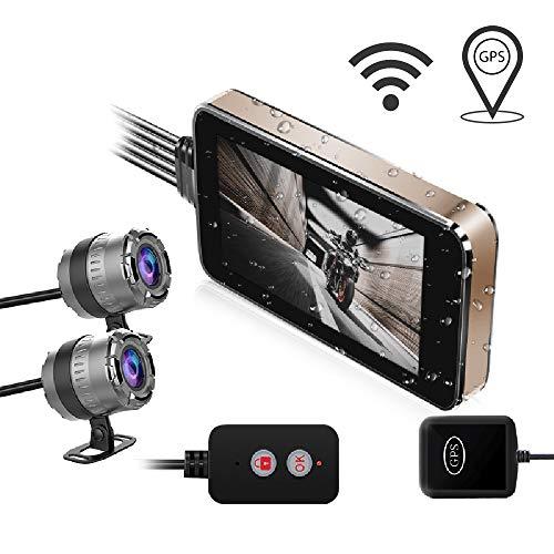 Hd Touch Driving Recorder Camera Telecamera di registrazione per moto, 4.0 Schermo LCD 140 ° grandangolo, Lente doppia anteriore e posteriore impermeabile con visione notturna e GPS