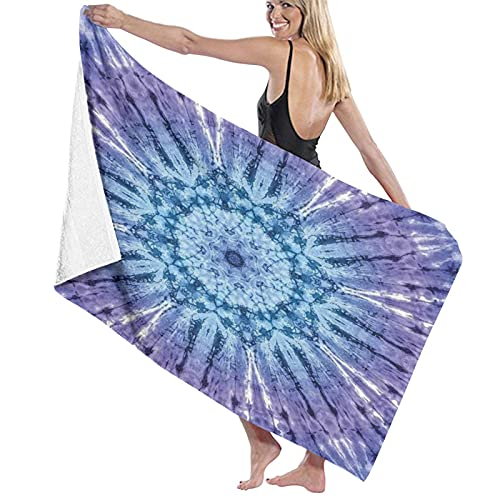 Toallas de baño,Tie Dye Círculo Original Mandala Motivo Centrado Color espectral vibranManta de Toalla Grande,súper Suave,Altamente Absorbente para baño,Playa o Piscina,52 'x 32'