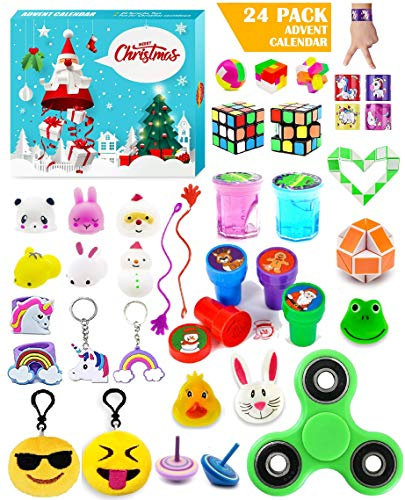Christmas Advent Calendar 2020,24 Stress Relief Fidget Party Treasure Prizes Toys,Xmas Countdown Calendars Gifts for Kids Girls Boys Age 3 4 5 6 7 8
