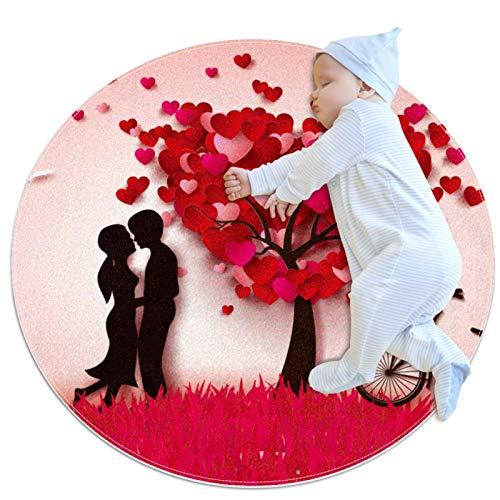 Haminaya Children's play mats,round kitchen rug round washable rug circular rug,Red Pink Lover Tree Bicycle Valentines