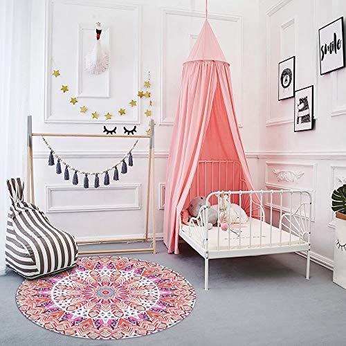 LEEVAN Modern No-Shedding Non-Slip Machine Washable Round Area Rug Living Room Bedroom Bathroom Kitchen Soft Carpet Floor Mat Home Decor 3-Feet Diameter (3' Diameter, Pink Mandala)