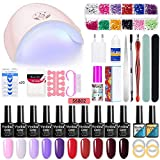 Womdee Gel Vernis À Ongles Starter Set - Kit De Manucure Nail Art Tool, Kit Gel Ongles 36W Lampe UV/LED 10 Couleurs Ensemble Vernis À Ongles Gel, Parfait Cadeau DIY