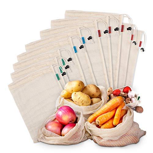 Tikola Lot de 10 sacs réutilisables en coton biologique lavables pour fruits et légumes, aliments pour épicerie, jouets et jouets avec cordon de serrage léger (5 grands – 2 moyens – 3 petits)