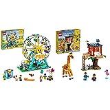 LEGO Creator 3 In 1 Ruota Panoramica, Autoscontro E Giostra, Playset Parco Giochi, Costruzioni Per 9 Anni & Creator 3 In 1 Casa Sull'Albero Del Safari, Biplano E Catamarano, Giocattoli Con Barca