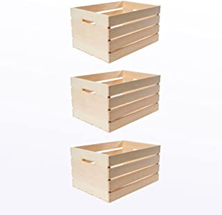 """12.0"""" D x 9.50"""" H x 18.0"""" Large Unfinished Storage Wood Crates with Handles (3-Pack)"""