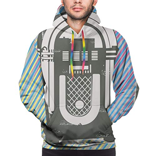Men's Hoodies 3D Print Pullover Sweatershirt,Radio Party Dark Grey Vintage Music Box with Abstract Grunge Colorful Stripes Image,XXL