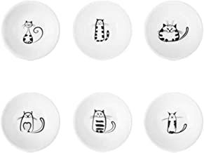 UPKOCH 1 Set 6pcs Cute Cat Ceramic Sauce Dish Sushi Soy Dipping Bowl Appetizer Plates Serving Dish for Kitchen Home (White...
