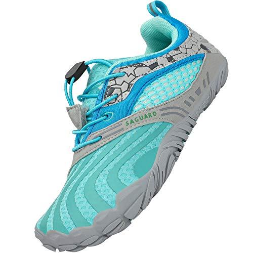 SAGUARO Kinder Badeschuhe Wasserschuhe Atmungsaktive Aquaschuhe Jungen Mädchen Barfußschuhe Schnell Trocknend rutschfeste Schwimmschuhe Walking Schuhe, Blau 36