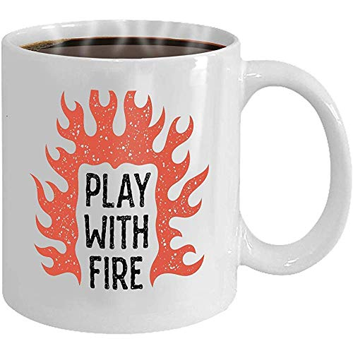 Tazas de té: taza divertida con estampado jugar fuego fuego llamas jugar fuego tipografía imprimir texturas grunge