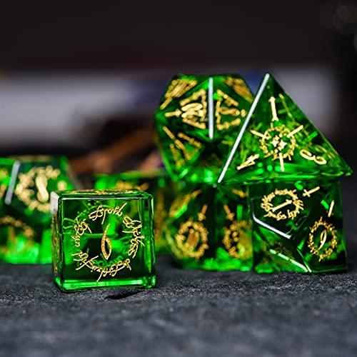 LANGWEI Juego De Dados DND, Dados Poliédricos Pretty Green Peridot D&D con Caja De Regalo, Dados De Juego De rol para Juegos De Mesa TRPG, Juegos De Mazmorras Y Dragones,D6